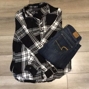 Polly Esther Flannel Top